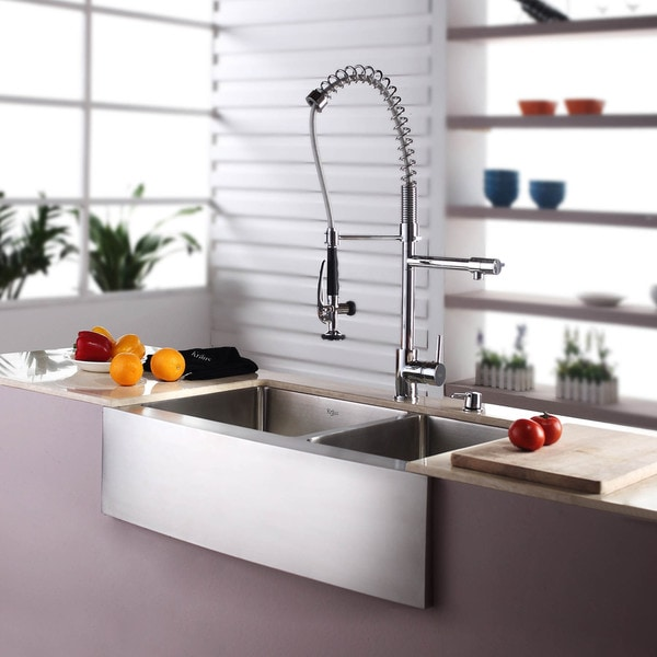 Kraus 33 Inch Farmhouse Double Bowl Stainless Steel Kitchen Sink With Noisedefend Soundproofing Free Shipping Today Overstock Com 12264209