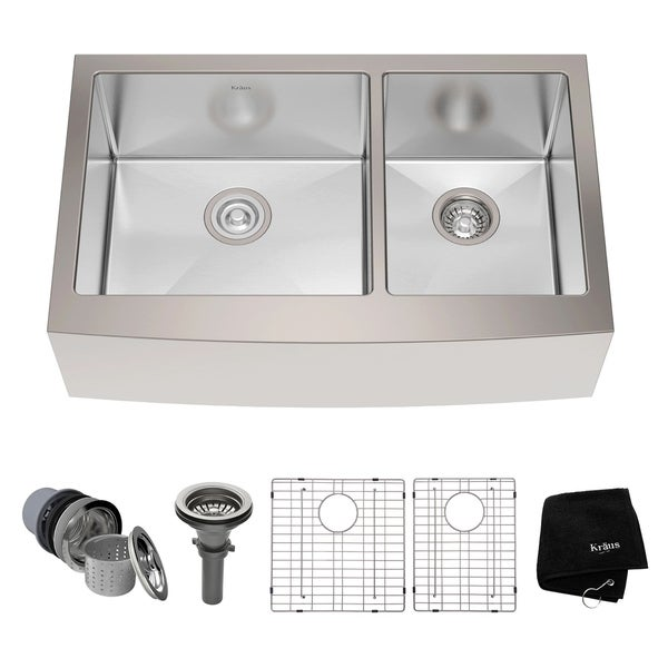Kraus  Inch Farmhouse Double Bowl Stainless Steel Kitchen Sink With Noisedefend Soundproofing