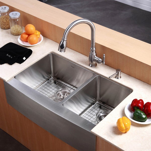 KRAUS 33 Inch Farmhouse Double Bowl Stainless Steel Kitchen Sink with NoiseDefend Soundproofing