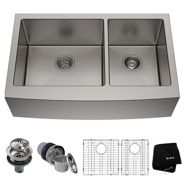 Kraus KHF203-33 Standart PRO Farmhouse Apron 33-inch 16 gauge 60/40 Double Bowl Satin Stainless Steel Kitchen Sink