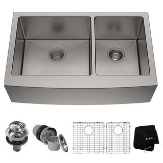 Kraus KHF203-33 Farmhouse Apron Front 33-in 16G 60/40 2-Bowl Satin Stainless Steel Kitchen Sink, Grids, Strainers, Towel