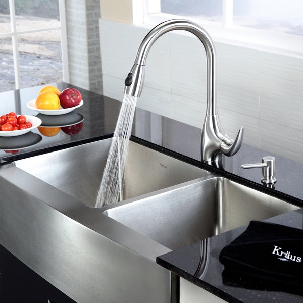 Stainless Steel Double Farmhouse Sink : KRAUS 36 Inch Farmhouse Double Bowl Stainless Steel Kitchen Sink with ...