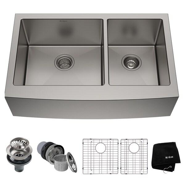 Kraus KHF203-36 Standart PRO Farmhouse Apron 33-inch 16 gauge 60/40 Double Bowl Satin Stainless Steel Kitchen Sink