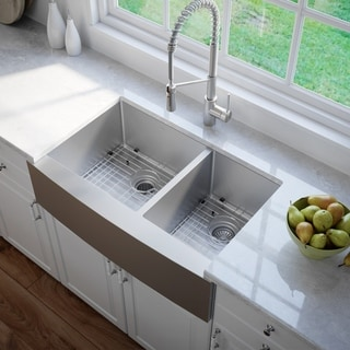 kraus 36 inch farmhouse double bowl stainless steel kitchen sink with noisedefend soundproofing 20   22 kitchen sinks for less   overstock com  rh   overstock com