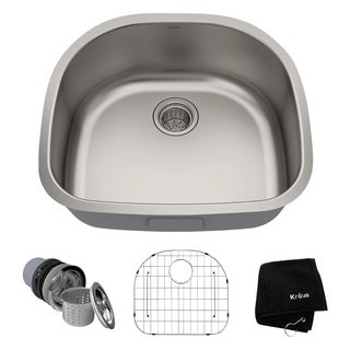 KRAUS 23 Inch Undermount Single Bowl Stainless Steel Kitchen Sink with NoiseDefend Soundproofing
