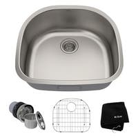 Kraus KBU10 Premier Undermount 23-in 16G 1-Bowl Satin Stainless Steel Kitchen Sink, Grid, Strainer, Towel