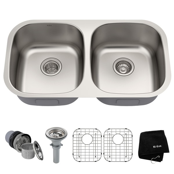 Kraus KBU22 Premier Undermount 32 Inch 16 Gauge 50/50 Double Bowl Satin  Stainless
