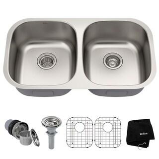 Kraus KBU22 Undermount 32 inch 2-Bowl Stainless Steel Kitchen Sink