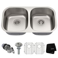 KRAUS 32 Inch Undermount 50/50 Double Bowl 16 Gauge Stainless Steel Kitchen Sink with NoiseDefend Soundproofing