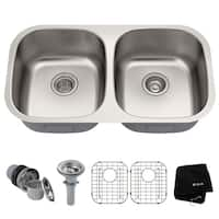 Kraus KBU22 Premier Undermount 32-in 16G 50/50 2-Bowl Satin Stainless Steel Kitchen Sink, Grids, Strainers, Towel