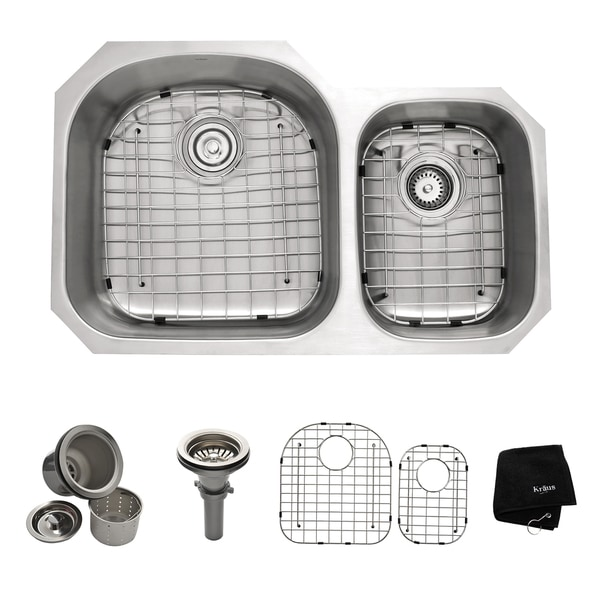KRAUS 32 Inch Undermount 60/40 Double Bowl 16 Gauge Stainless Steel Kitchen Sink with NoiseDefend Soundproofing