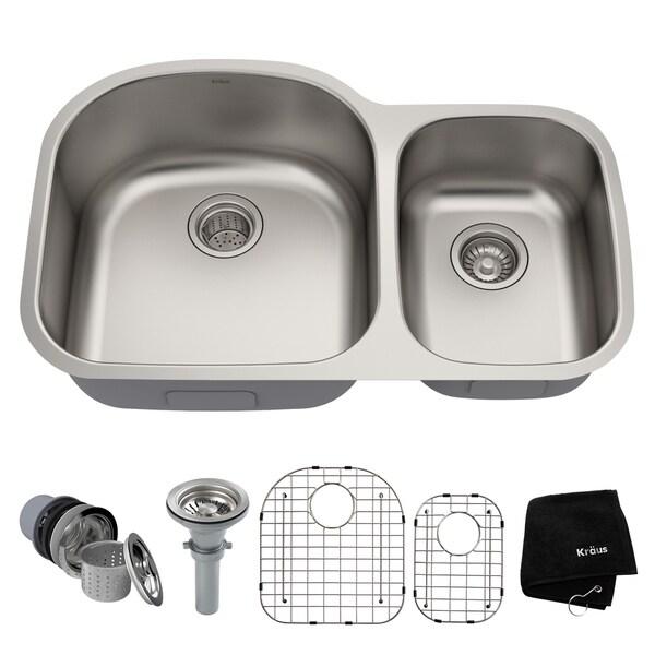 Kraus KBU23 Premier Undermount 32-inch 16 gauge 60/40 Double Bowl Satin Stainless Steel Kitchen Sink