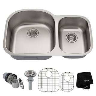 KRAUS 32 Inch Undermount 60/40 Double Bowl 16 Gauge Stainless Steel Kitchen Sink with NoiseDefend Soundproofing|https://ak1.ostkcdn.com/images/products/4282015/P12264213.jpg?impolicy=medium
