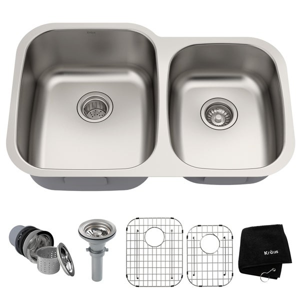 Kraus KBU24 Premier Undermount 32 Inch 16 Gauge 60/40 Double Bowl Satin  Stainless