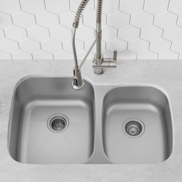 Kraus KBU24 Undermount 32 inch 2-Bowl Stainless Steel Kitchen Sink