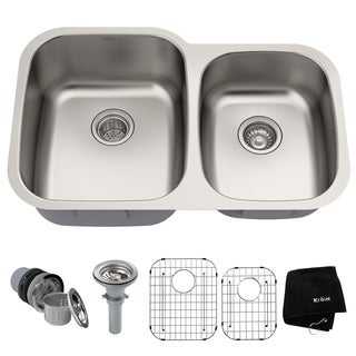 kraus 32 inch undermount 6040 double bowl 16 gauge stainless steel kitchen sink with - Round Sinks Kitchen