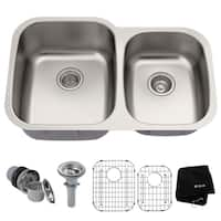 Kraus KBU24 Premier Undermount 32-in 16G 60/40 2-Bowl Satin Stainless Steel Kitchen Sink, Grids, Strainers, Towel