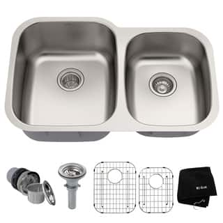 Round kitchen sinks for less overstock kraus 32 inch undermount 6040 double bowl 16 gauge stainless steel kitchen sink with workwithnaturefo