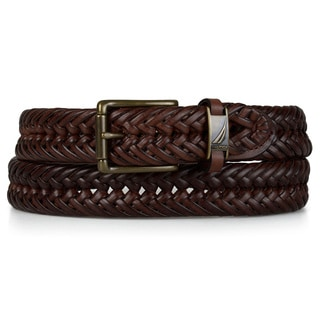 Nautica Men's Genuine Leather Braided Belt