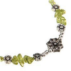 Silver Peridot with Floral Bead Necklace (Thailand)