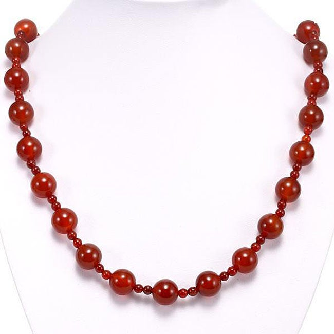 Silver Carnelian Agate Necklace (Thailand)