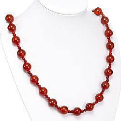 Silver Carnelian Agate Necklace (Thailand) - Thumbnail 1