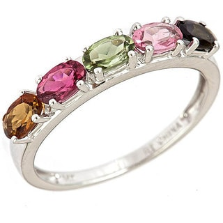Anika and August 14k White Gold Multi-colored Tourmaline Ring