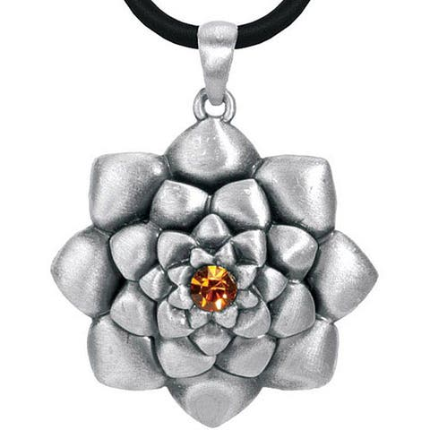 Pewter Austrian Crystal Lotus Flower Necklace