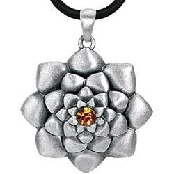 Pewter Austrian Crystal Lotus Flower Necklace - Thumbnail 0