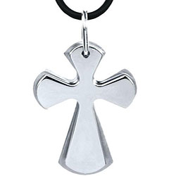 Stainless Steel Twin Cross Necklace
