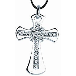 Silvertone Pewter Crystal Cross Necklace
