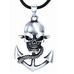 Pewter Skull and Anchor Necklace