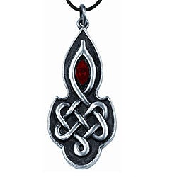 Pewter Red Crystal Celtic Love Necklace