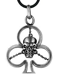 Pewter Clover Skull Necklace