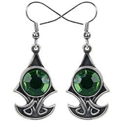 Pewter Green Cubic Zirconia Celtic Axe Earrings