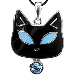 Pewter Blue Austrian Crystal Cat Necklace