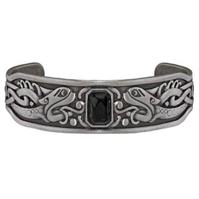 Pewter Black Cubic Zirconia Celtic Bangle Bracelet