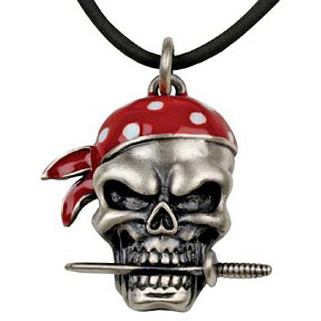 Pewter Pirate Skull and Dagger Necklace