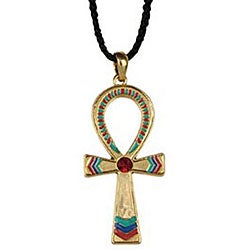 Goldtone Pewter Ankh Necklace