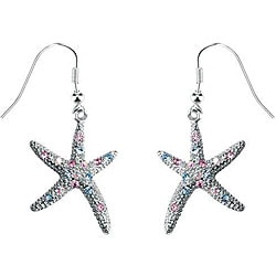 Pewter Austrian Crystal Starfish Earrings