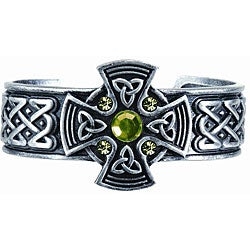 Pewter Green Crystal Celtic Shield Bangle Bracelet