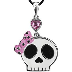 Pewter Pink Cubic Zirconia Pretty Skull Necklace