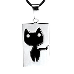Stainless Steel Cubic Zirconia Black Cat Necklace