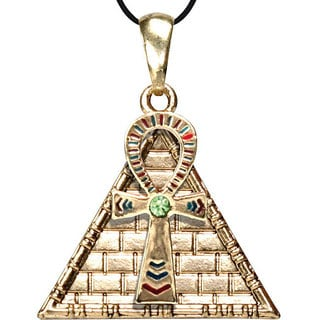 Pewter Cubic Zirconia Ankh Pyramid Necklace