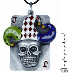 Pewter Joker Skull Dog Tag Necklace - Thumbnail 2