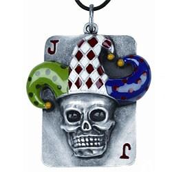 Pewter Joker Skull Dog Tag Necklace