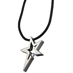 Stainless-Steel Cubic Zirconia Star Pendant Necklace