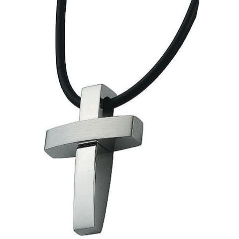 Stainless Steel Large Modern Cross Necklace