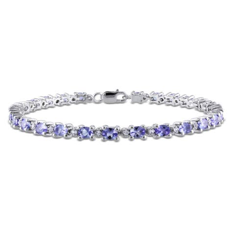 Miadora Sterling Silver Tanzanite and White Topaz Bracelet