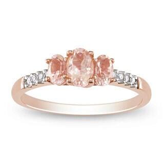 Miadora 10k Rose Gold Morganite and 1/10ct TDW Diamond Ring